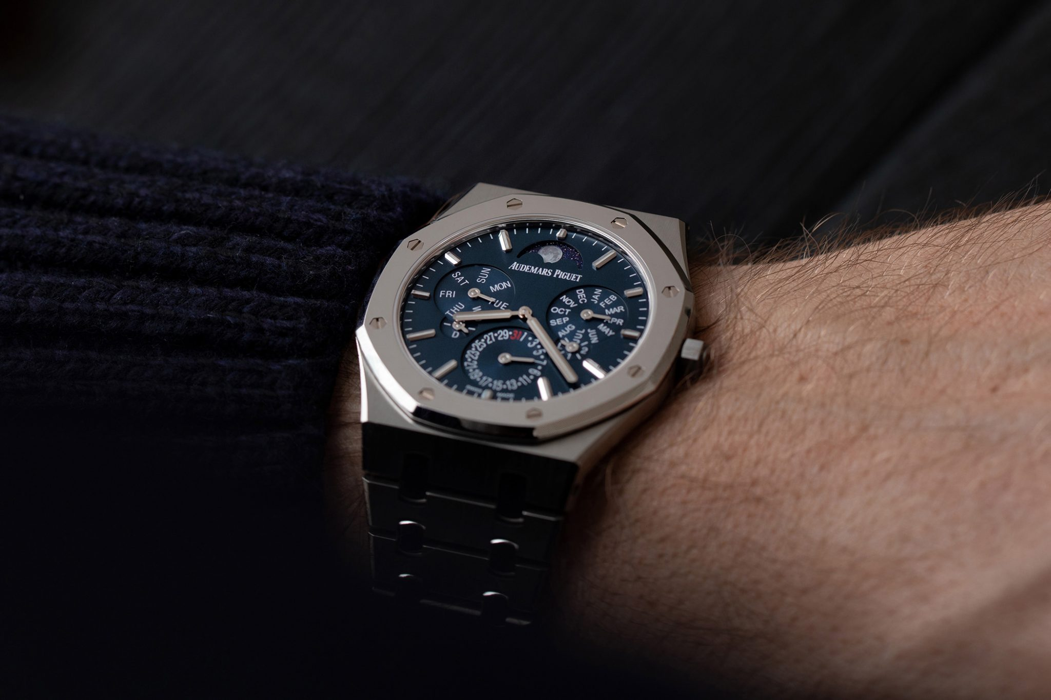 The Audemars Piguet Royal Oak Selfwinding Perpetual Calendar Ultra-Thin 26586IP.OO.1240IP.01 on the wrist