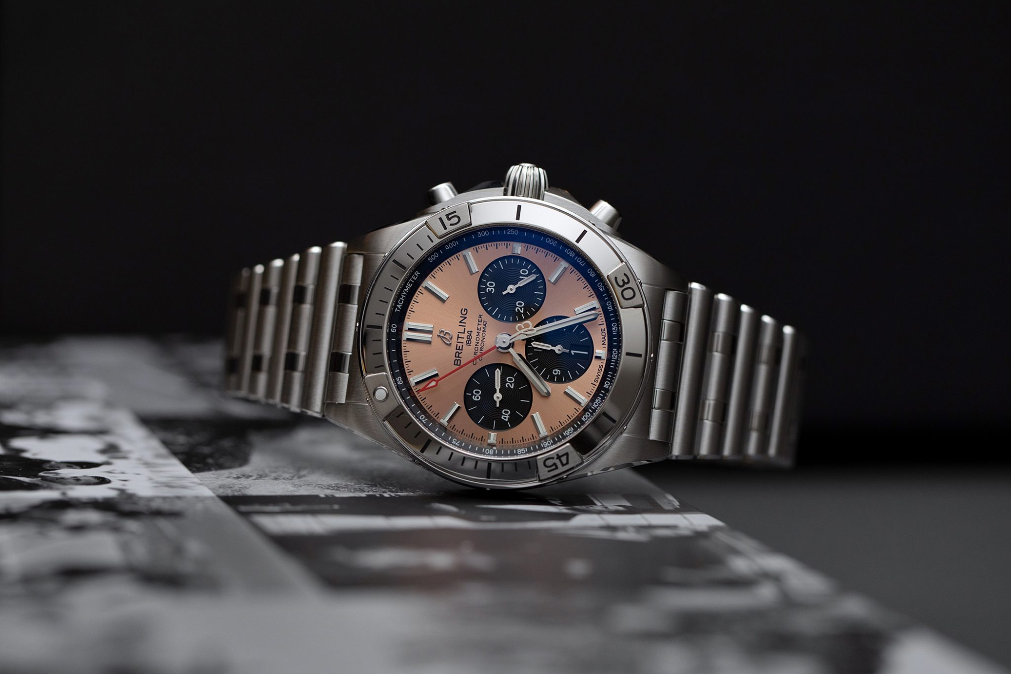 The new Breitling Chronomat collection, here the new Chronomat B01 42 in Stainless Steel with the salmon dial